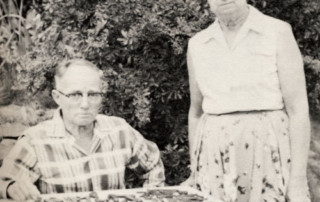 Dr. Nininger and his wife, Addie, examining tektites in Vietnam during the 1950s